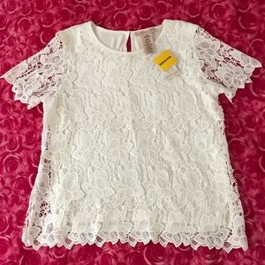 Womens White M Shirt Top Lace 2 Layered Career New